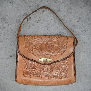 Handbags - Vintage 70s Mexican tooled leather bag purse